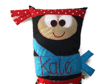 Ninja Bedtime Story Book Pillow with a Pocket, Personalized and MADE TO ORDER