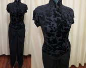 Vintage Black Razak Oriental Asian Inspired Style Velvet Floral Relief Top figure Hugging Long Evening Dress