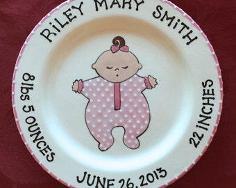 New Baby Gift newborn baby gift Baby Shower Plate birth plate gift for mom and dad Baby in PJs