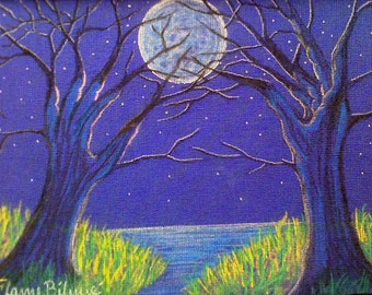 Fantasy Landscape, Moonlight lake, surreal imagery, tree figures, dryads, reaching hands, pagan art, dream imagery
