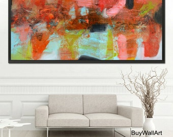 Red Abstract Print, red Painting, huge art print,Orange Art Print,blue red Print, abstract painting, wall art print,canvas print, red art