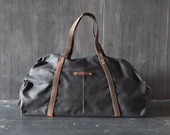 Waxed Canvas Weekender Bag in Coal Black, Gift for Dad, Waxed Canvas Bag, Canvas Travel Bag, Luggage & Travel, Duffle Bag, Gift for Husband