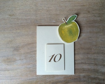 Green Apple Fruit Table Number Tents - for Events, Weddings, Parties, Showers, Graduations.