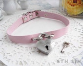 Pink Leather Heart Lock Choker with Key, Baby Pink Heart Lock Choker, Lock and Key Choker, Pink Heart Padlock Choker, Padlock and Key Choker
