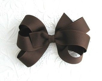 Brown Hair Bow ~ Chocolate Brown Boutique Bow, Girls School Hair Accessories, Thanksgiving Bows, Toddler Bows, 6 Loop Large Bow for Girls