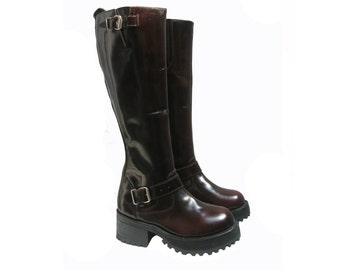 Knee High Platform Motorcycle Boots Vintage Muro Burgundy Leather Tall Biker Boots Will Fit Wms US Size 6