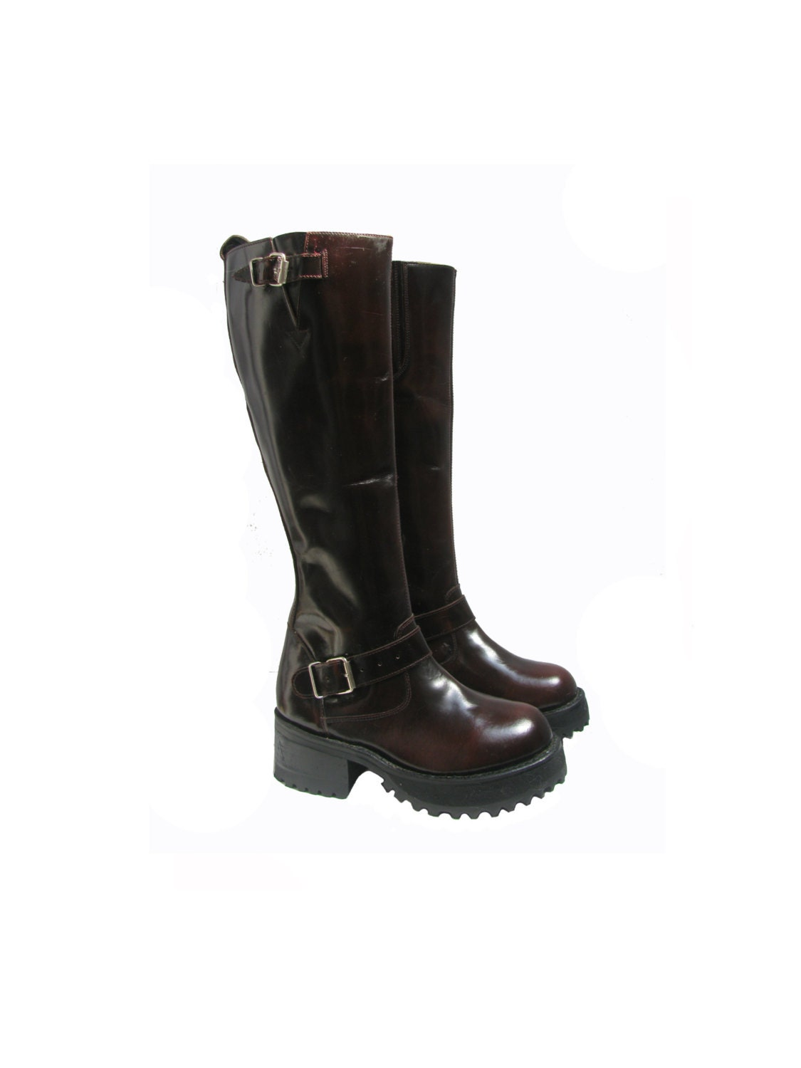 knee high platform motorcycle boots vintage muro burgundy
