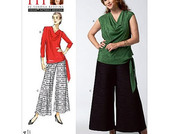 All Sizes/Bust 32-55 - Vogue Separates Pattern V1334 by SANDRA BETZINA - Misses' Banded Cowl Neck Tops with Wide Leg Pants