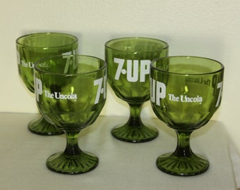 7 UP Thumbprint Goblets Vintage 1960s The Uncola Green Glass 7UP Logo Heavy Duty White Logo Advertising Vintage Glasses COOL set of 4