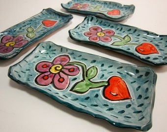 Ceramic Spoon Rest - Pottery Dish - Small Tray - Flower Red Heart Pottery Clay Majolica Blue Purple - Butter Dish