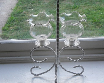 White Twisted Roped Style Candleabre/Candle Holder-Comes with 2 Glass Globe Shades-NICE!!!