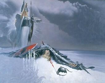 Valkyrie Saluting Fallen Viking Warrior Einherjar Called and Chosen for Valhalla