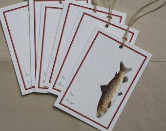 6 Brown Trout Fish Gift Tags, Set of 6, Fisherman Tags, on Recycled Cream Flecked Cardstock with Jute String