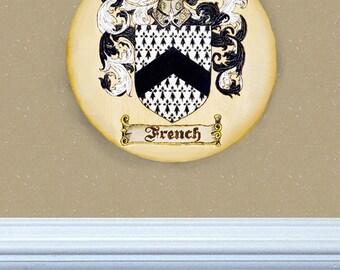Wood Burned Family Crest Ornament