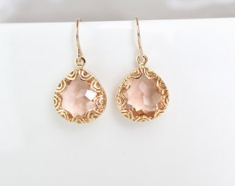 Gold Framed Glass Pendant Earrings - Champagne - Grace