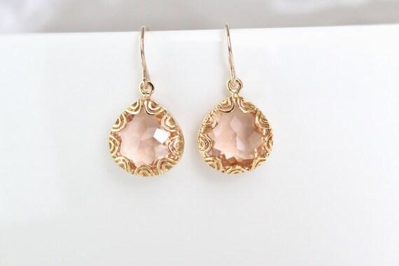 Gold Framed Glass Pendant Earrings - Champagne - Grace