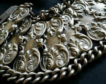 Vintage Unusual Wide Silver Scroll Work Chain Link Bracelet