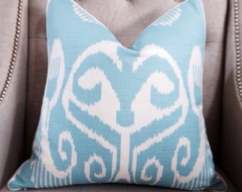 """Quadrille China Seas Nomad Pillow Cover in Blue on White - 20""""x20""""- Pattern on the front"""