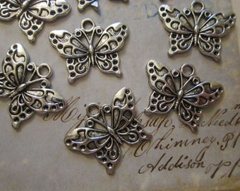 25 butterfly charms - silver tone - 16mm x 28mm