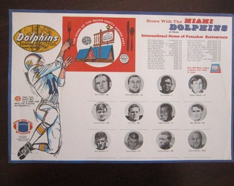 vintage Miami Dolphins NFL IHOP paper place mat - circa 1970s - Bob Griese, Larry Csonka - Miami Beach - football