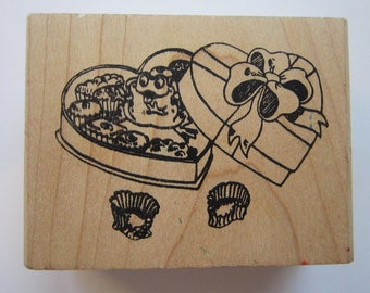 rubber stamp - FROG in box of Valentine chocolates