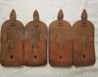 2 vintage leather ammo pouches - ammunition bags - circa 1950s