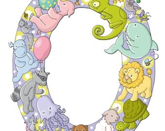 O, ALPHABET, Animals, Childrens Art, NURSERY decor, 8x10 Print, Kids Art, Series, ABCs, Illustrated Wall Art, Initial Art
