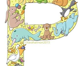 P, ALPHABET, Animals, Childrens Art, NURSERY decor, 8x10 Print, Kids Art, Series, ABCs, Illustrated Wall Art, Initial Art