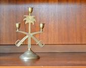 vintage brass sword candle holder