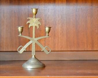 SALE vintage brass sword candle holder