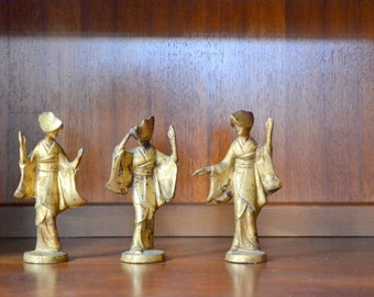 vintage mid century modern cast bronze japanese geisha figurines