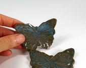 Ceramic tea bag holder spoon rests, pottery butterfly shaped spoon rests, ceramic butterflies, pottery chopstick rests set of 2 dark jade