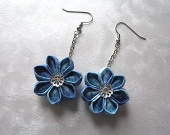 Blooms of Ice Light Blue Kanzashi Flower Dangle Earrings