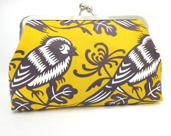 clutch purse - chirp - 8 inch metal frame clutch purse- large purse - bird - yellow - tweet - kisslockflowds