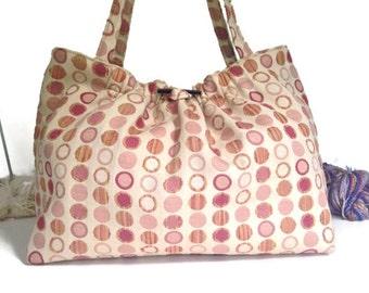 Pastel Tote Upholstery Bag  Shoulder Tote Knitting Projects Bag Knitting Tote Knitting Storage Travel Bag Shoulder Bag Knitting Bag