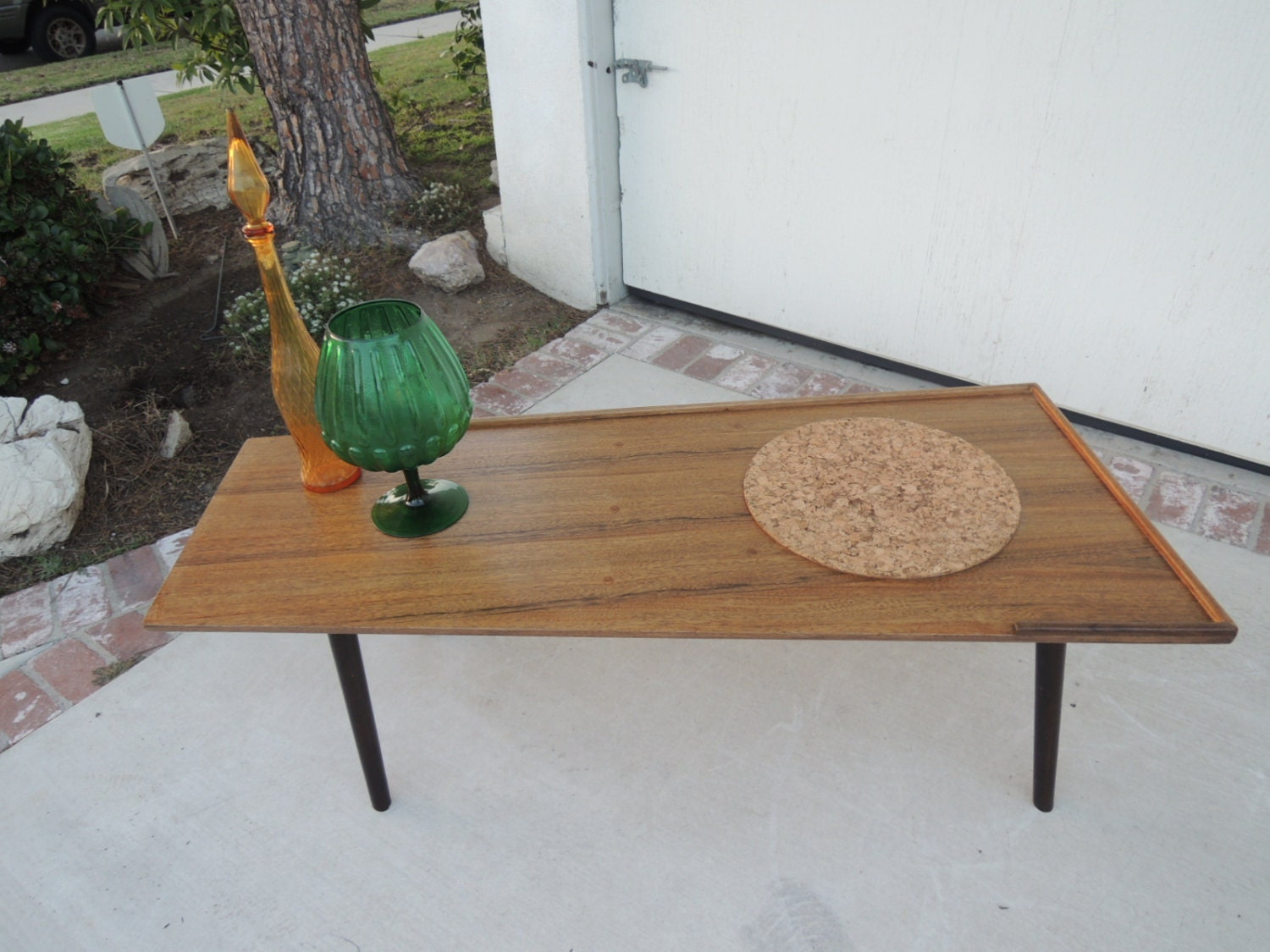 Mid Century Modern Angled Wood Coffee Table Los Angeles Haute Juice