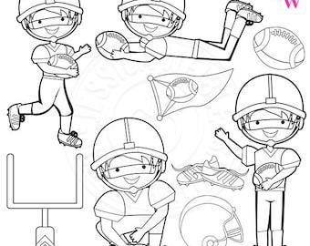 Football Season Cute Digital Stamps, Boys Football Clip Art, Football Stamps, Football Line Art, Football Graphics, Sports