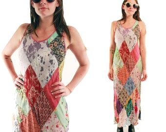 PHOEBE 90s Gorgeous Multi Floral Diamond Bias Cut Patchwork Argyle Grunge Print Pattern Tank Maxi Sun Dress Folk Hip Paisley Boho Small S