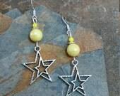 Yellow Silver Star Sterling Silver Earrings, Yellow Star Earrings, Silver Yellow Star Sterling Silver Earrings