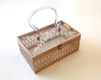 Vintage Bag 50s Lucite Box Purse | Lucite Brass Floral Clutch | Evening Bag