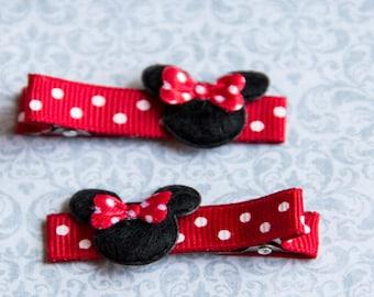 Minnie Mouse Hair Clip, Minnie Mouse Hair Clip Set, Mouse Hair Clippie set, Minnie Mouse felt clip, Mouse Hair clip,