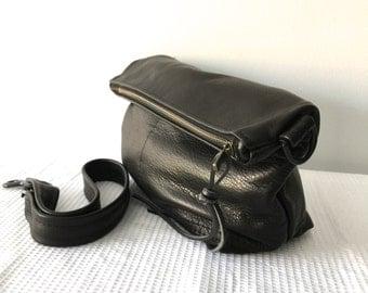 small black leather messenger bag - large leather clutch - black leather hobo bag - black leather travel tote - iPad bag