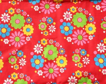 Vintage Red Fabric with Daisies, Remnant 1 Yard