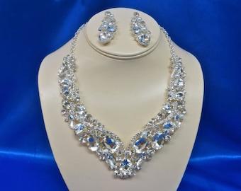 Retro Bridal Necklace, Retro Silver Necklace, Retro Rhinestone Necklace, Retro Swarovski Necklace, Retro Crystal Necklace