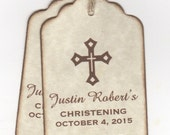 20 Baby Cross Christening Baptism Favor Tags, Communion Favor Tags, Personalized Gender Neutral Baby Tags - Vintage Style