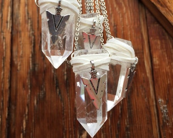 Clear Quartz Crystal Necklace/ Arrowhead Pendant/ Natural Gem Stone/ Leather Wrapped Stone Necklace/ Crystal Pendant/ Raw Quartz/ Boho Chic/