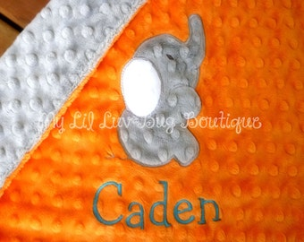 Lil Lovey personalized baby blanket-Orange and grey elephant- elephant lovey blanket