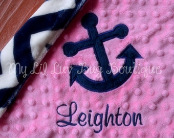 Personalized baby blanket- hot pink and navy chevron anchor- lovey blanket