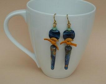 Boho Earrings, Lampwork Glass Earrings, Bohemian Earrings, Raku Ceramic Earrings, Organic Earrings, Navy Blue Earrings, Brass Earwires