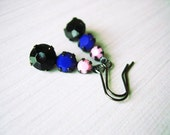 Rhinestone Dangle Earrings - Black Jewelry, Royal Blue, Pink, Vintage Drops, Retro